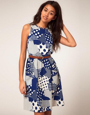 Image 1 of River Island Waisted Dress in Retro Print