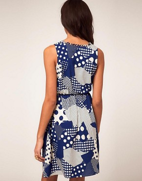 Image 2 of River Island Waisted Dress in Retro Print