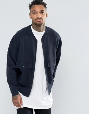 ASOS Oversized Jersey Bomber Jacket With Patch Pockets