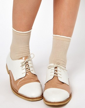 Image 1 ofASOS Ankle Sock In Metallic With Frill Top