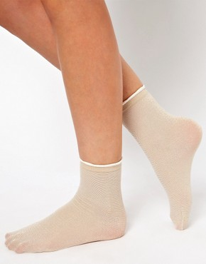 Image 2 ofASOS Ankle Sock In Metallic With Frill Top