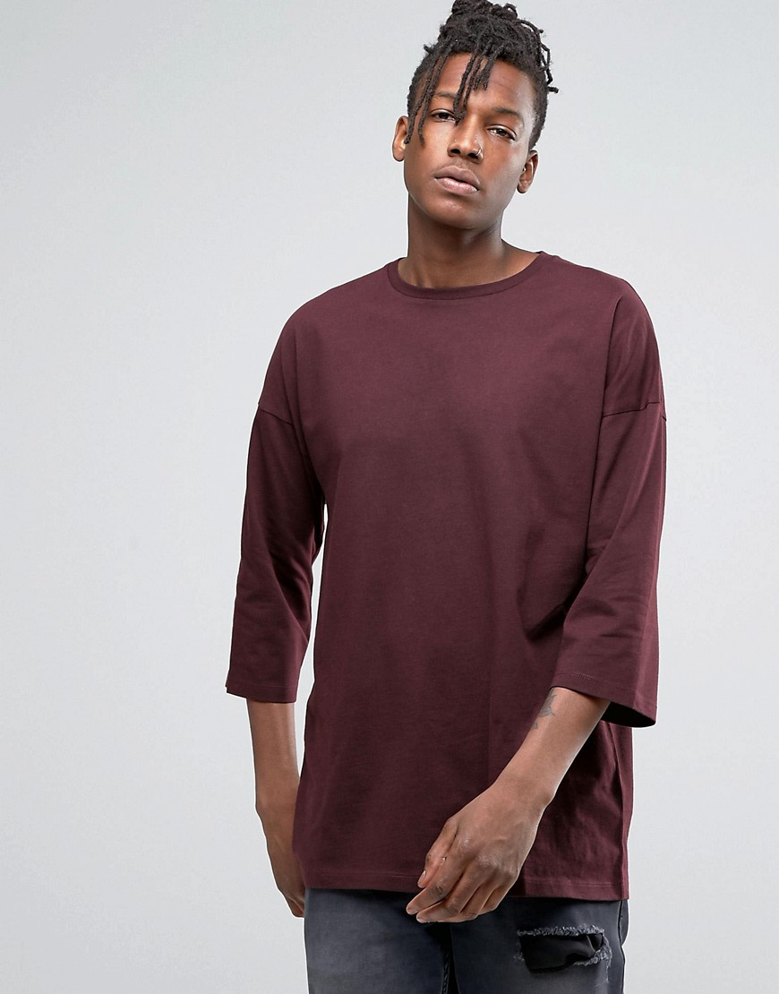 ASOS Oversized 3/4 Sleeve T-Shirt In Oxblood - Red