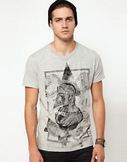 Diesel - T-Simpson - T-shirt con stampa mlange di moicano stile soldato romano