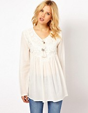 Mango Crochet Detail Tunic Top