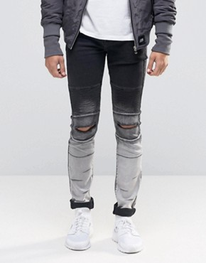 Sixth June Skinny Biker Jeans With Ripped Knees