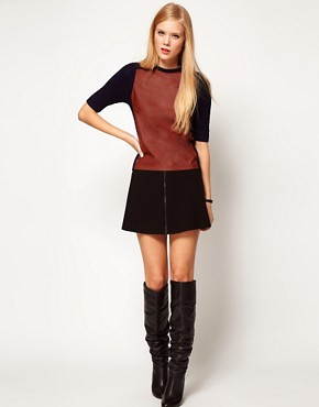 Image 4 of ASOS Leather Look Panel Knitted Tee