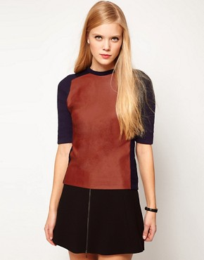 Image 1 of ASOS Leather Look Panel Knitted Tee
