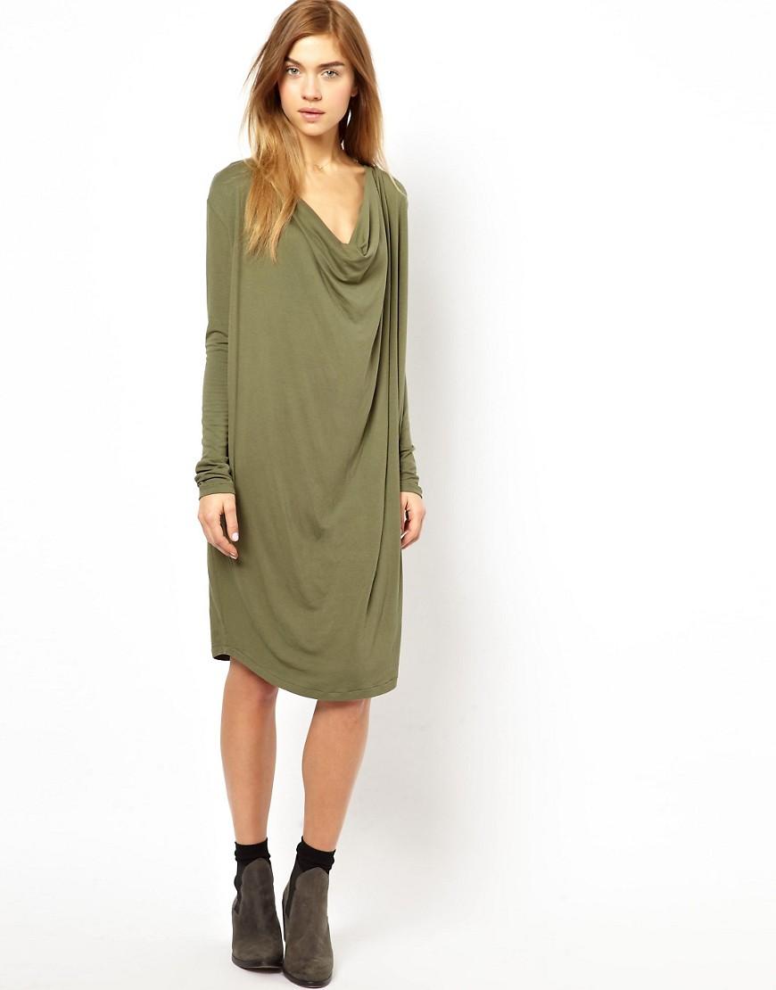 Ganni Barneys Dress with Cowl Neck - Green