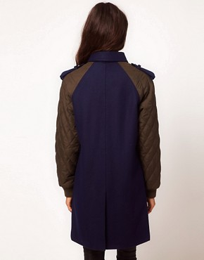 Image 2 ofASOS Quilted Contrast Sleeve Coat