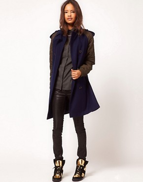 Image 4 ofASOS Quilted Contrast Sleeve Coat