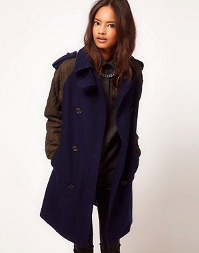 Image 1 ofASOS Quilted Contrast Sleeve Coat