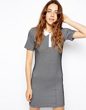 ASOS T-shirt Dress in Texture with Collar - Black