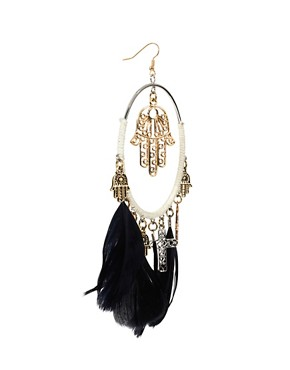 Image 3 ofRiver Island Woven Feather Hoop And Charm Earrings