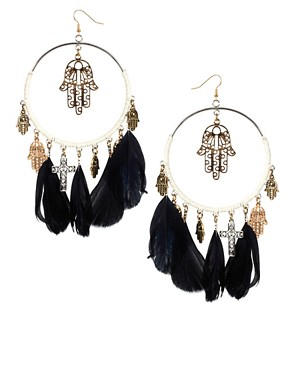 Image 1 ofRiver Island Woven Feather Hoop And Charm Earrings