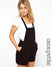 ASOS PETITE Exclusive Dungaree Playsuit With Bib Front