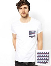 ASOS T-Shirt With Flag Print Pocket And Roll Sleeve