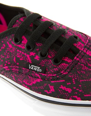 Image 2 ofVans Authentic Fuchsia Snake Lace Up Trainers