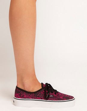 Image 3 ofVans Authentic Fuchsia Snake Lace Up Trainers
