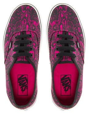 Image 4 ofVans Authentic Fuchsia Snake Lace Up Trainers