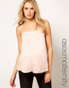 Image 1 ofASOS Maternity Cami With Skinny Straps and Sheer Panels