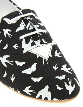 Image 2 ofASOS MADDOX Swallow Print Lace Up Flat Shoes