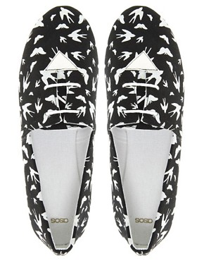 Image 3 ofASOS MADDOX Swallow Print Lace Up Flat Shoes