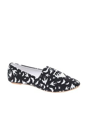 Image 1 ofASOS MADDOX Swallow Print Lace Up Flat Shoes