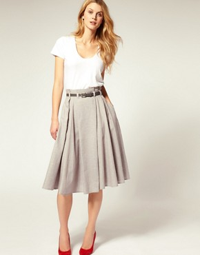 Image 1 ofASOS Belted Super Full 7/8 Skirt
