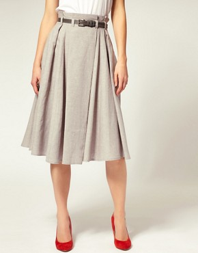Image 4 ofASOS Belted Super Full 7/8 Skirt