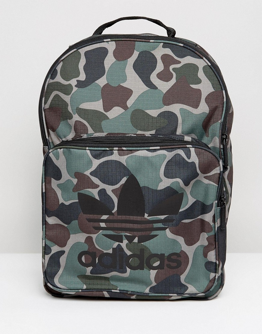 Adidas Originals Classic Backpack In Camo - Green