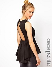 ASOS PETITE Exclusive Peplum Top With Cutout Back And Lace Trim
