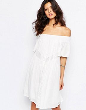 Y.A.S Lela off Shoulder Smock Dress in White