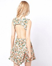 To Love Kuvaa Fruit Print Open Back Dress