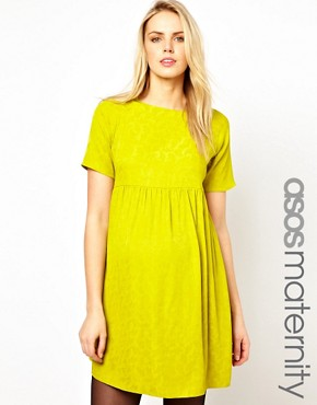 Image 1 ofASOS Maternity Jacquard Smock Dress