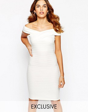 Lipsy Cross Front Ribbed Bodycon Dress