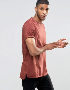 ASOS Longline T-Shirt With Roll Sleeve And Step Hem In Red Pigment Dye