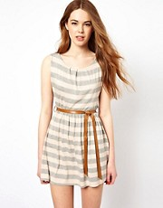 Wal G Stripe Dress With Belt