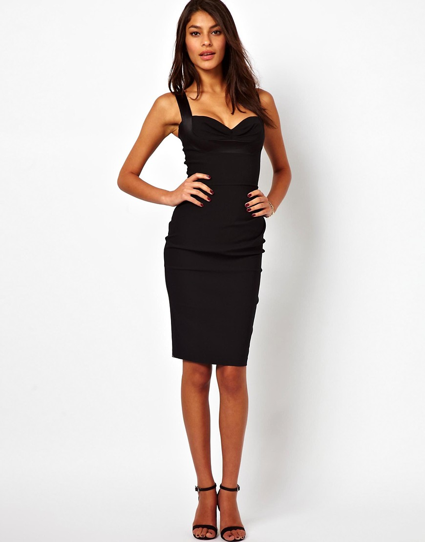 Image 1 of Hybrid Pencil Dress With Gathered Waist And Sweetheart Neck