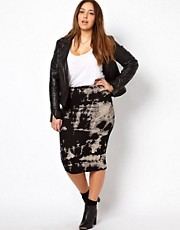 New Look Inspire Tie Dye Jersey Midi Skirt