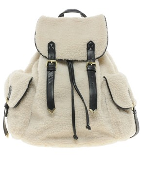 Image 1 ofASOS Shearling Backpack