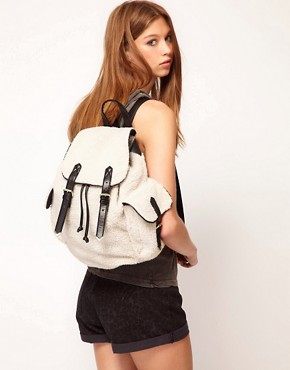 Image 3 ofASOS Shearling Backpack