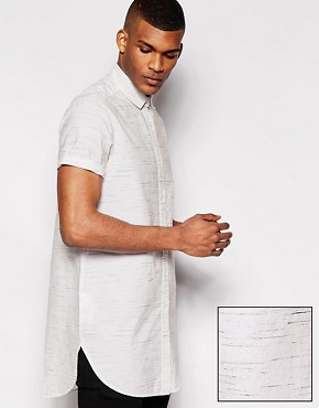 ASOS Super Longline Shirt In Short Sleeve With Spacedye