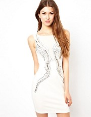 Lipsy Embellished Mesh Dress With Low Back