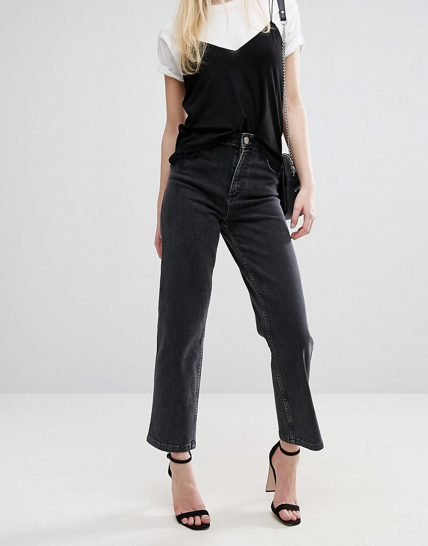 ASOS High Waist Straight Leg Jeans In Washed Black - Washed black