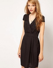 A Wear Polka Dot Print Tea Dress
