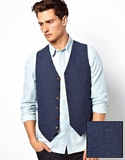 ASOS Waistcoat in Blue Dogstooth