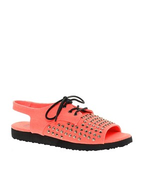Image 1 ofASOS FEARLESS Studded Flat Sandals