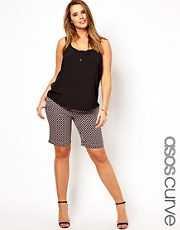 Esclusiva ASOS CURVE - Pantaloncini modello city con stampa geometrica