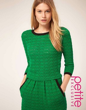 Image 1 ofASOS PETITE Top In Crochet Knit