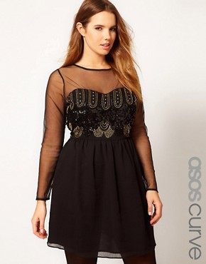 Image 1 ofASOS CURVE Dress With Deco Embellishment